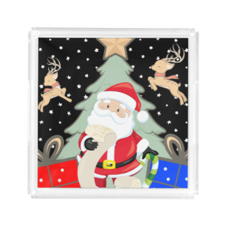 Santa Has A List Acrylic Tray