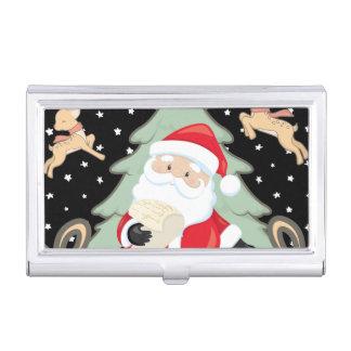 Santa Has A List Business Card Holder