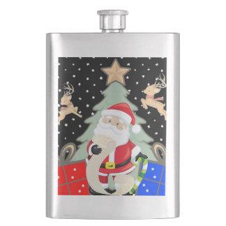 Santa Has A List Hip Flask