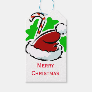 Santa hat and candy cane Merry Christmas Gift Tags