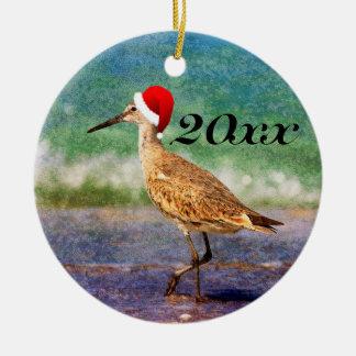 Santa Hat Bird Tropical Beach Christmas Ornament