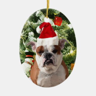 Santa Hat Bulldog Christmas Tree Snowman Gift Box Ceramic Oval Decoration