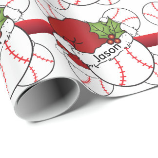 Santa Hat Christmas Baseball | DIY Name Wrapping Paper