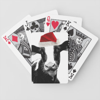Santa Hat Christmas Cow! Bicycle Playing Cards