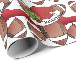Santa Hat Christmas Football | DIY Name Wrapping Paper