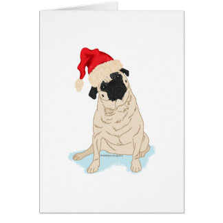 Santa Hat Christmas Pug Card