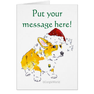 Santa Hat Corgi Christmas Card
