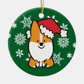Santa Hat Corgi Ornament | CorgiThings
