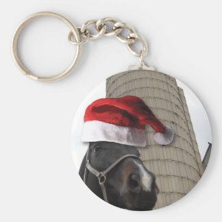 Santa Hat Horsey Basic Round Button Key Ring