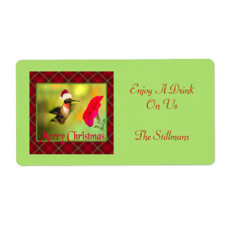 Santa Hat Hummingbird Christmas Personalized Shipping Labels