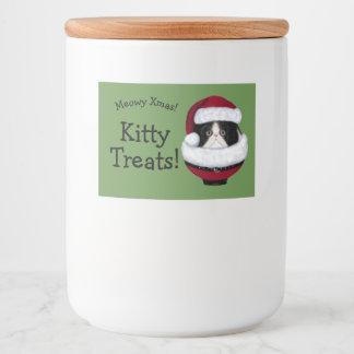 Santa Hat Kitten Cat Holiday Custom Labels