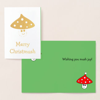Santa Hat Mushroom Foil Card