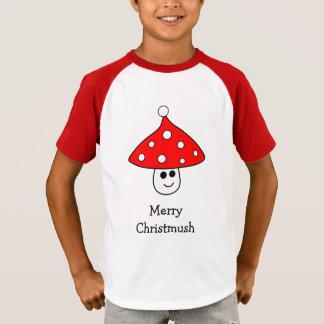 Santa Hat Mushroom Raglan T-Shirt (Child)