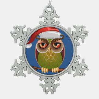 Santa hat owl ornament
