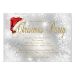 Santa Hat Red and Gold Snowflake Christmas Party 11 Cm X 16 Cm Invitation Card
