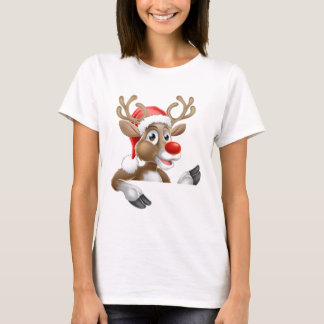 Santa Hat Reindeer Pointing Down from Behind Sign T-Shirt
