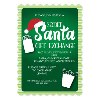 Santa Hat, Secret Santa Gift Exchange Invitation