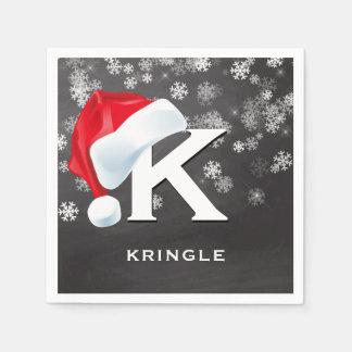 Santa Hat Snowflakes Chalkboard Christmas Party Disposable Serviette