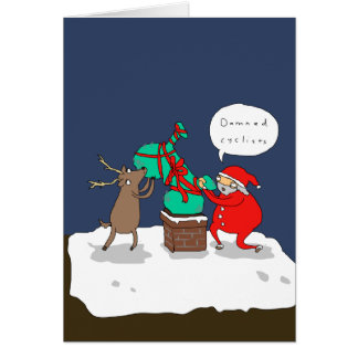 Santa Hates Cyclists | Funny Comic Christmas Card