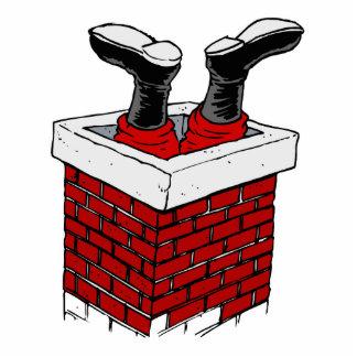 santa head first in chimney standing photo sculpture
