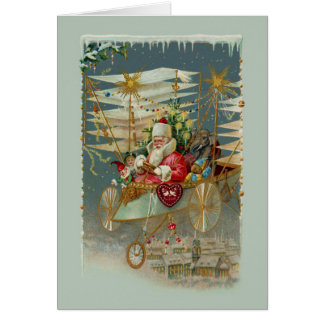 Santa & His Amazing Flying Machine Note Card