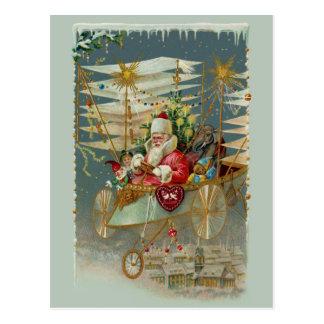 Santa & His Amazing Flying Machine Postcard