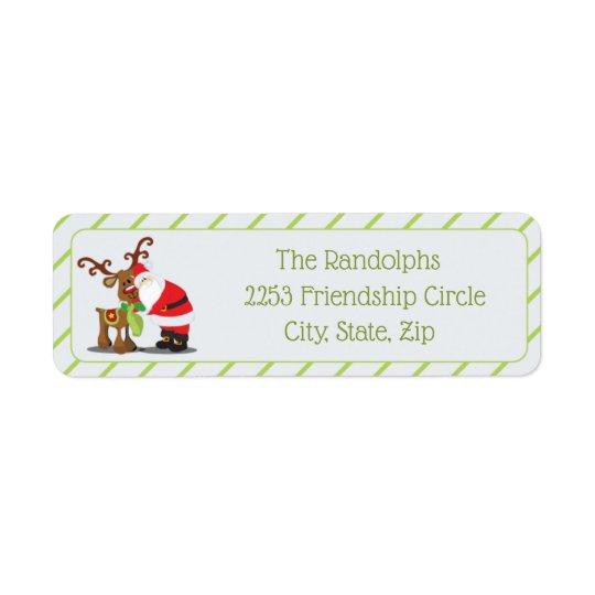 Santa & His Reindeer Diagonal Stripes Return Address Label