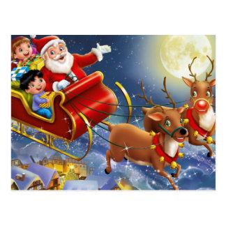 Santa, His Reindeer & Sleigh Postcard