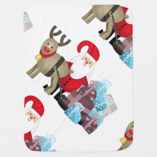 Santa & His Reindeer with Gifts Baby Blanket