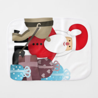Santa & His Reindeer with Gifts Burp Cloth