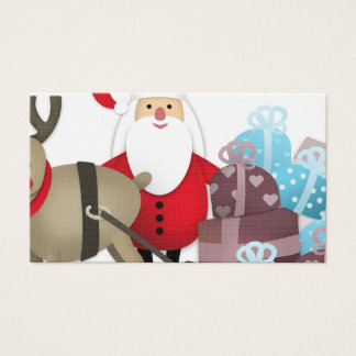 Santa & His Reindeer with Gifts Business Card