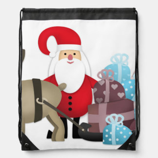 Santa & His Reindeer with Gifts Drawstring Bag