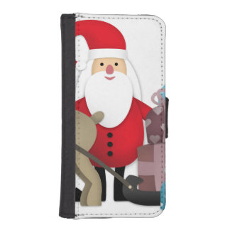 Santa & His Reindeer with Gifts iPhone SE/5/5s Wallet Case