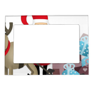 Santa & His Reindeer with Gifts Magnetic Picture Frame
