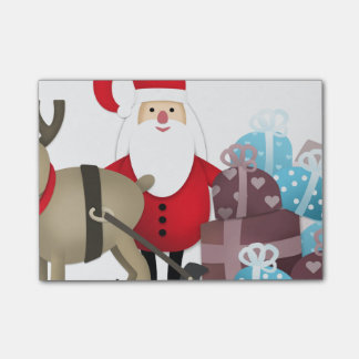 Santa & His Reindeer with Gifts Post-it® Notes