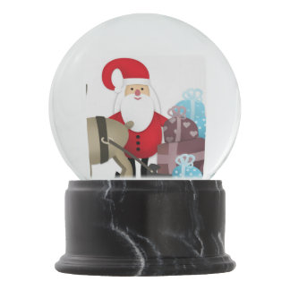 Santa & His Reindeer with Gifts Snow Globe