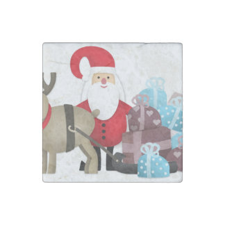 Santa & His Reindeer with Gifts Stone Magnet