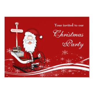 Santa & His Sleigh Christmas Party 13 Cm X 18 Cm Invitation Card