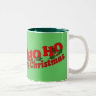 """Santa """"Ho Ho Ho Merry Christmas"""" green mug Two-Tone Mug"""