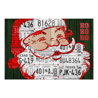 Santa Ho Ho Ho Recycled Vintage License Plate Art Poster