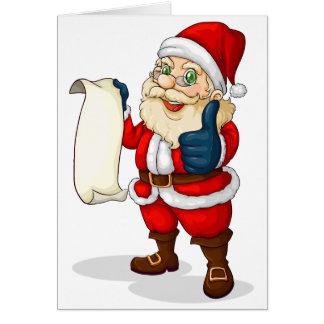 Santa holding an empty list for Christmas Greeting Card