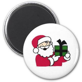 Santa Holding Gift 6 Cm Round Magnet