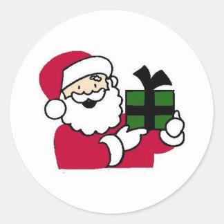 Santa Holding Gift Round Sticker