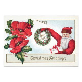 Santa Holly Wreath Poinsettia Present Dec 25th Photographic Print
