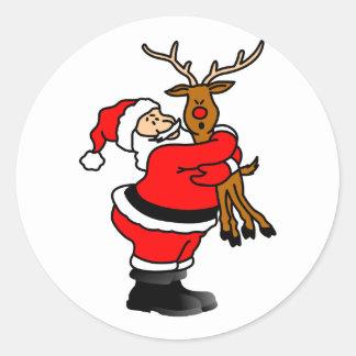 Santa Hugging Reindeer Classic Round Sticker