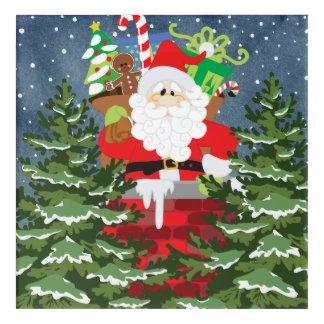 Santa in a chimney starry night acrylic wall art