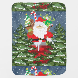 Santa in a chimney starry night baby blanket