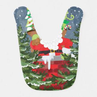Santa in a chimney starry night bib