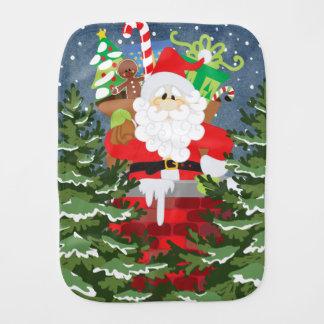 Santa in a chimney starry night burp cloth