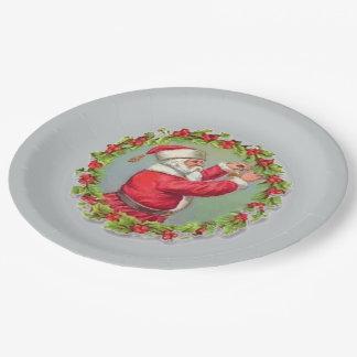 Santa in a Wreath Paper Plates 9 Inch Paper Plate